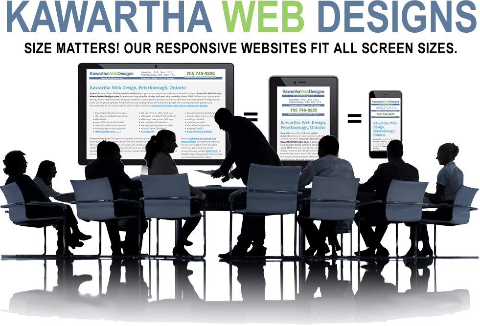 Kawartha Web Designs answers the question, size does matter, so a website needs to be responsive to fit on all screen sizes. CLICK to visit our 12 samples below